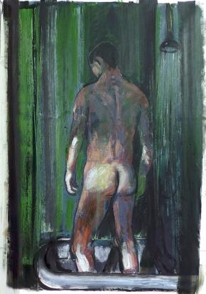 Λουόμενος, λάδι σε καμβά, 150x100 cm, 2012 Bather, oil on canvas, 150x100 cm, 2012