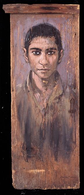 Indian boy, oil on wood, 80x40 cm, 1992
